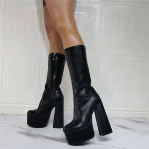 Women Punk Platform Knee High Boots Chunky Heels Goth Round Toe Booties Zip Shoe