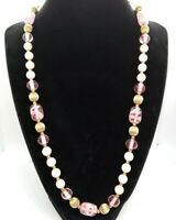 """Coro Pink And Gold Tone Necklace 22"""" Long Glass & Lucite Beads"""