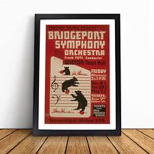 Vintage WPA Poster Bridgeport Symphony Orchestra Framed Picture Print Wall Art