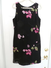 Allen B. Ladies Size 14 Black with Pink Flowers Lined Sleeveless Dress