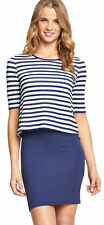Plus Size 20 Blue White Stripe Simply Nautical DRESS 2 in 1 Top Skirt Be £27