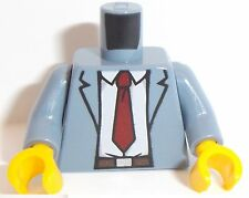 Lego Torso x 1 Open Suit Jacket with White Shirt, Red Tie Pattern Sand Blue
