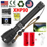990000LMS LED XHP90 XHP70 XHP50 Flashlight Torch USB Rechargeable Zoomable 26650