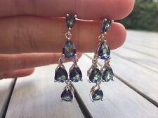 Blue Rainbow Mystic Topaz & 925 Sterling Silver Drop Dangle Earrings Teardrop