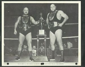 MAD DOG AND BUTCHER VACHON  1970'S WRESTLING 8X10 PHOTO WORLDS TAG TEAM CHAMPS