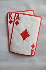 "2265LRB 5-1/2"" Red Poker Card Ace King Of Diamond Suit Embroidery Applique Patch"