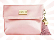 Milani Vegan Leather Cosmetic Blush Coral Pink Make Up Bag w/ Gold Tassel Clip