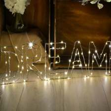LED Luz de Estrellas Decoración De Alambre Mensaje Regalo Presente Cumpleaños Blanco Cálido-sueño