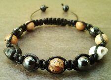 Mens Stone Bracelet JASPER HEMATITE SKULL bead cuff wristband Jewelry Shamballa