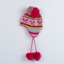 H&M Toddler Pink Winter Hat with Ear Flaps Pom Pom Metallic Thread 1-3 y