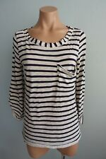 Splendid USA Navy & Cream Striped 3/4 Sleeve Round Neck T-shirt sz S
