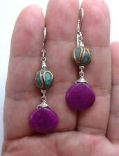 Smooth Violet Purple Jade W. Nepal Turquoise Sterling Silver Earrings A01005