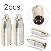 2Pcs Metal XLR 3 Pin Male to RCA Female Audio Jack Adapter Plug Connector