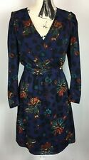 Longsleeve BIBA Wrap around Dress In Navy With Animal Print And Flower UK 8
