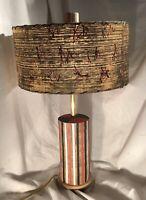 Atomic, Mid Century Ceramic Pottery With Fiberglass Shade, Table Lamp