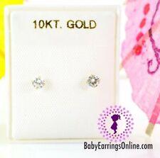 10K Gold Zirconia Baby Girl Children Screw Back Earrings - 3mm