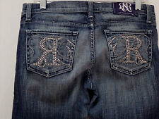 "ROCK & REPUBLIC KASANDRA sz 29 EMBELLISHED BLUE JEANS meas 30"" x 34""   (#1216-5)"