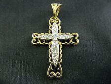 9ct oro da uomo, donna con pietre incastonate Croce pendente a 48mm, 4.6g/Belcher, Curb Catena