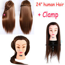 Salon Long 100% Real Human Hair Salon Hairdressing Training head Mannequin Clamp