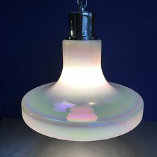 "1 Of 2 - 14"" Chrome & Iridescent White Glass Pendant Lamp Ceiling Swag Vintage"