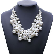 Statement Bib Beaded Vintage Chunky Us White Pearl Multi Layer Necklace Ladies