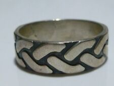 MENS SZ 13 DESIGNER STERLING SILVER CABLE LIKE CHAIN LINK RING BAND QUALITY+