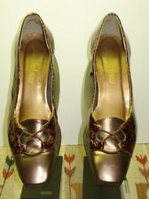 Women's MAGDESIAN Leather Faux-Snake Bronze Leather Heel Super Cute MINT! Sz. 8
