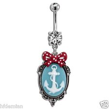 Cameo Anchor With Polka Dot Bow Belly/Navel Ring.