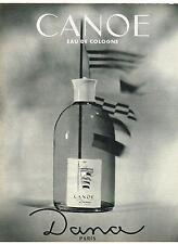 PUBLICITE ADVERTISING  1963   CANOE  eau de cologne de DANA