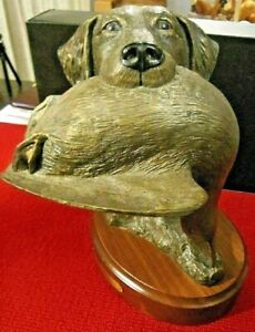 "1997 BRADFORD WILLIAMS BRONZE RETRIEVER SCULPTURE ""GRAND MASTER"" 1225/1250"