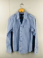 Ben Sherman Men's Long Sleeve Casual Military Shirt Size S Blue Stripe