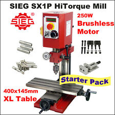 SIEG SX1P HiTorque Mill 400x145mm Table /  250W Brushless Motor Starter Pack