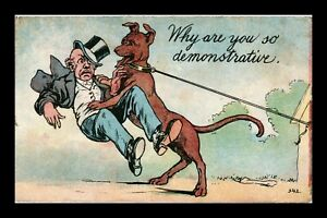 DR JIM STAMPS US SO DEMONSTRATIVE DOG JUMPING ON MAN COMIC POSTCARD 1910