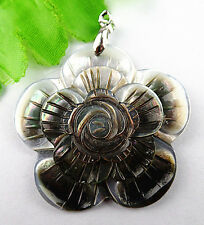 Beautiful Unique nature carved flower black Fresh water shell pendant bead BA324