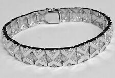 "10kt Solid White Gold Handmade Fashion Nugget Bracelet 11 mm 33 grams 7"""