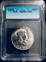 1955 Franklin 50 Cent Silver Half Dollar ICG Certified MS 64 FBL Gold Edge Tone