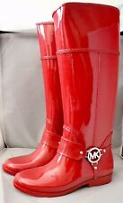 Michael Kors Women's Fulton Harness Rubber Tall Rain Boots Red Size 6 New