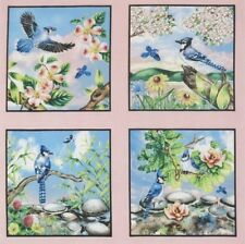 "Beautiful Backyard Birds Bluejay 5"" quilt block squares cotton Quilting Fabric"