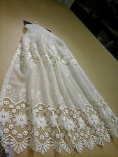 Beautiful cream macrame on cream voile made to size (1473)