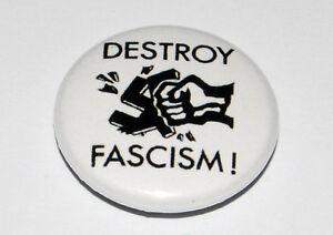 "ANTI-FASCIST ""DESTROY FASCISM"" 25MM / 1 INCH BUTTON BADGE PUNK ANTIFA"