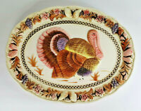 Vintage Lefton Japan Thanksgiving Oval 19in Turkey Platter Plate Serial #5768