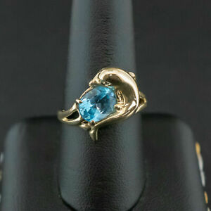 (Pa2) 14ct Yellow Gold Topaz Dolphin Ring 4.2Grams Size S