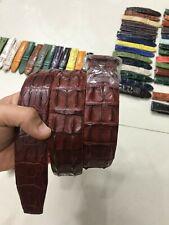 BROWN DOUBLE HORNBACK GENUINE CROCODILE SLEATHER SKIN MEN'S BELTS 3.8cm width