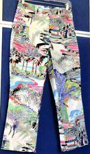 EUC Tropical Print ESCADA PANTS Jeans w. LOGOS & Signature Buttons Sz 36 US-S-6