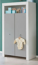 Kleiderschrank weiß lichtgrau 2 türig Kinder Baby Zimmer Schrank Möbel Wilson GS