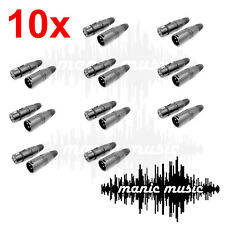 10 Pair 3-Pin Male Female XLR Audio Cable Connector Plug Jack Microphone Adapter