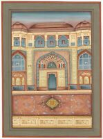 Indian Miniature Painting Of Royal Mughal Palace Handmade Artwork On Paper