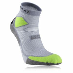 Hilly Skyline Lightweight Running Socks Grey/Lime Green/Black *NEW*