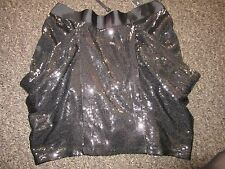 BNWT UK 8 TopShop Mini Skirt Black Full Micro Sequins Peplum Dress Up Christmas