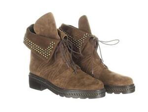Stuart Weitzman Women's Brown Suede Yadastud Studded Combat Boots Booties 6